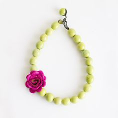 Flor Necklace - Pink & Apple green Visit www.calamarie.com