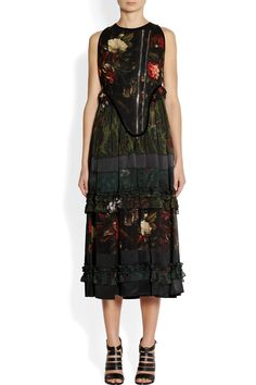 Givenchy | Floral print sleeveless boiled wool-blend and sheer chiffon dress