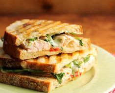 Turkey, brie, roasted red pepper and arugula panini with honey mustard sauce {http://www.theperfectpantry.com/}