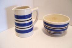 Sadler Blue Black and White Stripe Cream and Sugar Staffordshire England by okanaganvintage on Etsy