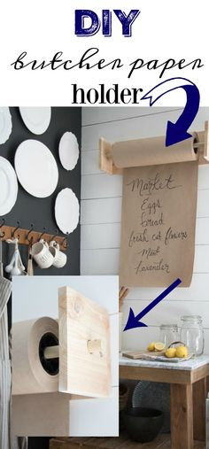 DIY Butcher Paper Holder   Bakeries and Deli's are not the only places where you see these adorable butcher paper rolls and holder's anymore. They are a definite item when it comes to Farmhouse Kitchen's. I have been loving this idea for sometime now, especially since I have been wrapping gifts with brown paper for... Read more