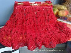 crochelinhasagulhas: Minha saia vermelha em crochê
