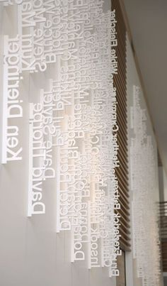 "larameeee: "" Ziba Design, a design consultancy in Portland. The lobby features an installation of employee names laser-cut from wafers of Styrofoam and hung vertically according to date hired. As a vital prototyping material used by industrial..."