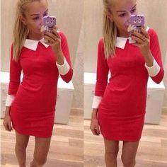 Elegantní šaty s límečkem, 2 barvy, XS, S, M, L