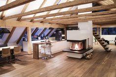 Dachgeschoss ♡ Wohnklamotte Dachbodenausbau H Villa Design, Loft Design, Chalet Design, Attic Conversion, A Frame House, Beautiful Living Rooms, Cozy Place, Lofts, Joinery