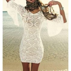 crochet dress lace beach cover up whit cover-up crochet
