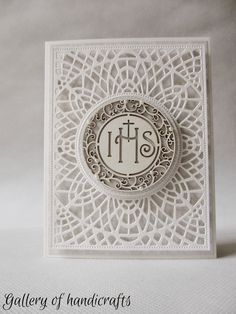 Gallery of handicrafts First Communion Cards, First Holy Communion, Baptism Gifts, Christening Gifts, Embossed Business Cards, Christian Cards, Church Banners, Shaped Cards, Centerpiece Decorations