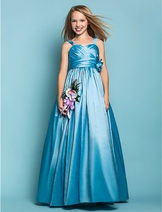 A-line Princess Straps Taffeta flower girl dress - USD $ 99.99