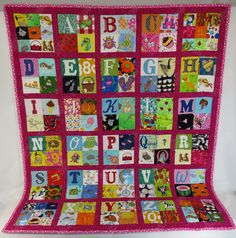 This beautiful dark pink alphabet themed quilt would be a delightful gift for any little girl. A wonderful quiet time matching game for a preschooler to play and learn at the same time. Teaches the alphabet and phonics, matching and memory game and is snuggly soft. This Quilt consists of 26 blocks made up of four 3 squares. The upper left corner square in each block is a letter of the alphabet, the other three squares in the block are each a picture of something starting with that letter…