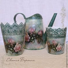 """Buy Watering can """"Roses Watercolor"""". Green watering can buy, Decoupage Decoupage Art, Decoupage Vintage, Tin Can Crafts, Crafts To Make, Shabby Vintage, Diy Fashion Hacks, Handmade Statement Necklace, Photo Frame Design, Plastic Planter"""