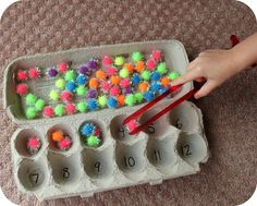 Simple and easy math station to set up and use. This is a perfect center to help students practice reading numbers, counting and get valuable fine motor practice.