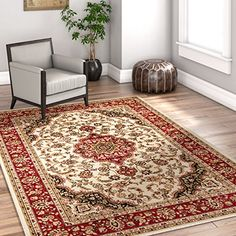 Noble Medallion Ivory Persian Floral Oriental Formal Traditional Area Rug 3x5 4x6 311 X 53 Easy To Clean Stain Fade Resistant Shed Free Modern