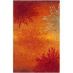Safavieh Handmade Soho Burst Rust New Zealand Wool Rug (2' x 3') ((2 ft. x 3 ft.)), Orange, Size 2' x 3'