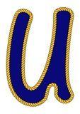 Cuerda marinero de la marina de estilo de letra del alfabeto u