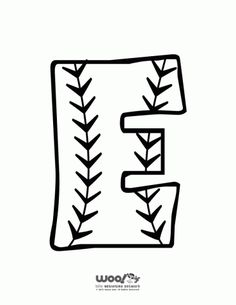 Printable Baseball Alphabet Letters Baseball Alphabet Letter E – Craft Jr. Alphabet Letters To Print, Alphabet Letter Crafts, Alphabet Templates, Initial Crafts, Baseball Hat Racks, Baseball Party, Letter E Craft, Baseball Letters, Monogram Letters