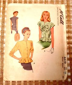 Vintage pattern McCall 6519 1940s blouse by momandpopcultureshop
