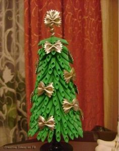 believe it or not.... a PASTA Christmas tree #Christmas Ideas #Holiday decorations