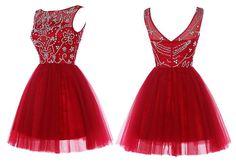 Elegant Red Short/Mini Homecoming Dress with Beaded,Sleeveless dress