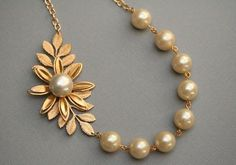 Items similar to Pearl Leaf Necklace Gold Bridal Jewelry Gold Wedding Jewelry Bridesmaids Necklace Pearl Necklace, Vintage Jewelry on Etsy Pearl Jewelry, Gold Jewelry, Vintage Jewelry, Jewellery Earrings, Jewellery Diy, Jewellery Shops, Pearl Necklaces, Statement Jewelry, Antique Jewelry