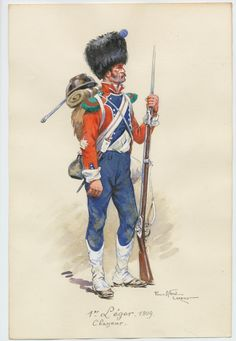 "French; 1st Light Infantry, Chasseur 1809 by P.A.leroux. No explanation is given for the red coat and blue facings. It is certain that Leroux worked from an original E.Fort plate. My opinion is that the coat is that of a drummers, either this is a drummer pressed into service as a chasseur or a chasseur who ""borrowed"" a drummer's coat."