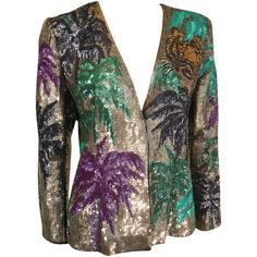 """Pre-owned 1980s Krizia Heavily Beaded and Sequined """"Tropical Tiger""""... ($1,500) ❤ liked on Polyvore featuring outerwear, jackets, blazers, tiger print jacket, vintage sequin jacket, vintage jacket, tiger jacket and beaded jacket"""
