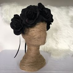 Black Rose Artificial Flower Crown / Floral Wreath / Hair Flowers / Fake Flower / Silk / Fascinator / Headband by FauxFloralCo on Etsy https://www.etsy.com/au/listing/484184609/black-rose-artificial-flower-crown