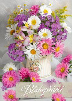 blahopřání 3D- Argus Daisy, Gifs, 3d, Plants, Flowers, Margarita Flower, Daisies, Plant, Presents