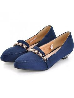Pointed Toe with Metal Ornament Navy Blue Suede Loafers