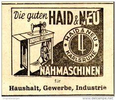 Original-Werbung/ Anzeige 1950  - HAID & NEU NÄHMASCHINEN - KARLSRUHE - ca 50 x 45 mm