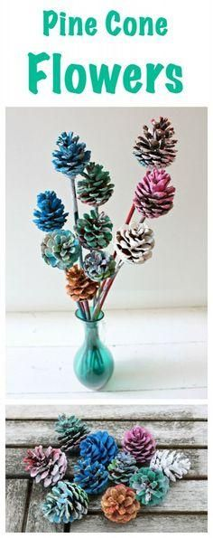This beautiful Children's Craft Activity - Painted Pine Cone Flowers - is a real treat! It is so easy to do and these pine cone flowers make the best decorations! Supplies Needed: Pine Cones Sticks (o Tree Crafts, Flower Crafts, Fall Crafts, Holiday Crafts, Crafts To Make, Diy Crafts, Craft Flowers, Pine Cone Crafts For Kids, Pinecone Crafts Kids
