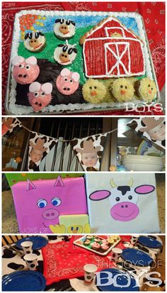 Farm themed first birthday party.  Everything from the barnyard cake to table decorations and fun farm animal presents.  So cute!  www.thejoysofboys.com
