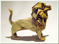 I tried making this once... it was supposed to be the Gryffindor lion... yeah pretty much ended up as a blob. Origami Lion, Origami 3d, Origami Animals, Paper Crafts Origami, Diy Paper, Kirigami, Paper Folding, Napkin Folding, Art Forms