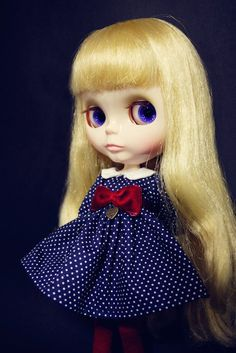 Blythe Vintage Polka Dot Blue Dress With Bow on front