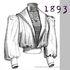 Miss Helyett Blouse - Victorian Reproduction PDF Pattern - 1890's - made from original 1893 La Mode Illustrée pattern by RepeatedOriginals on Etsy