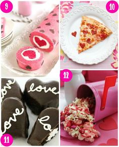28 Days of Kid's Valentine's Day Food Crafts on Frugal Coupon Living. Desserts include Love is All Around Cake Roll,  Heart Shaped Pizza, Cream Filled Chocolate Heart Ding Dongs and Pink Candy Valentine Popcorn from Frugal Coupon Living