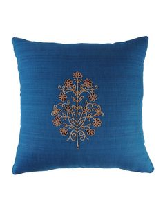 Blue Floral Gota Patti Cushion Cover - x Cushion Embroidery, Embroidered Cushions, Hand Embroidery Stitches, Embroidery Designs, Bedroom Cushions, Pillows, Cushion Covers, Pillow Covers, Cushions Online