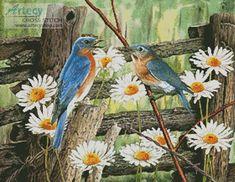 Artecy Cross Stitch. Serenade in Blue Cross Stitch Pattern to print online.