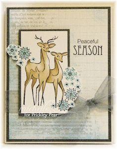 Prickley Pear Rubber Stamps:  J0030 Reindeer Pair, Victorian Ornaments  Clearly Beautiful Stamp Set