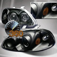 96-98 Honda Civic Halo Projector Headlights with Amber Reflector - Pair (Black/Clear)