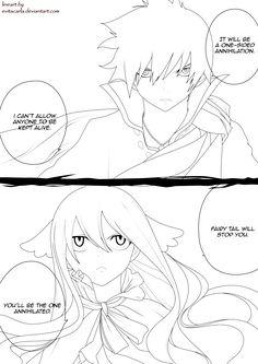 Zeref VS Mavis_Lineart ~ Fairy Tail by evitacarla