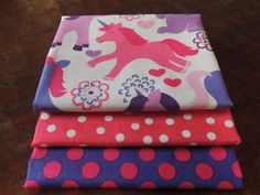 Pink & Purple PONY BUNDLE 3 Fat Quarters Total by StitchStashDiva, $7.50