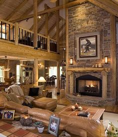 Great room furniture lodge style great rooms images cabin homes on log cabin living room white Log Cabin Living, Log Cabin Homes, Log Cabins, Barn Homes, Mountain Cabins, Rustic Homes, Log Home Floor Plans, House Plans, Cabin Interiors