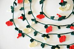 Red Christmas Flowers Red and Pearl Beads Dark Green by ReddApple, $28.00