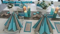 petroleumsfarvet borddækning - New Ideas Party Rock, Party Buffet, Napkin Folding, Dinning Table, Deco Table, Decoration Table, Baby Party, Holidays And Events, Party Planning