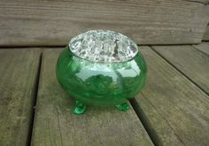 Viking Glass Flowerlite #1007 Flower Frog 4 1/2  Made in New Martinsville, West Virginia  Clear top - with green bottom - excellent condition