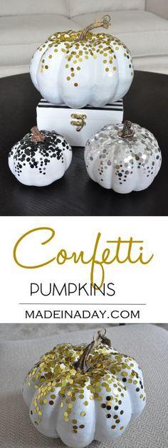 DIY Confetti Pumpkins for Fall Decor! Add confetti to pumpkins to add a sparkle to your decor this Fall. Faux pumpkin craft, easy craft, white pumpkin, glitter pumpkin, black silver gold pumpkins. Tutorial on madeinaday.com via @thelovelymrsp