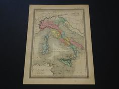 ITALY old map of Italy in antiquity 1878 by DecorativePrints
