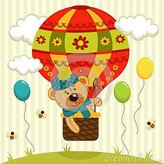 Bear flies on air balloon