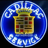 Cadillac Authorized Service Neon Sign with Silkscreen Backing featuring multi-colored, hand blown neon tubing. The glass tubes are supported by a black finished metal grid, which can be hung against a wall or window. They can even sit on a shelf. Cadillac Ats, Cadillac Escalade, Cadillac Fleetwood, Chevrolet Bel Air, Dodge Charger, Rolls Royce, Ford Modelo T, Metal Grid, Vintage Neon Signs