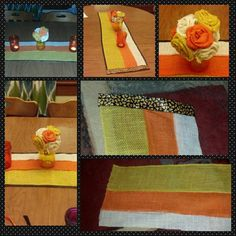 Burlap Candy Corn Runner with burlap flowers for Halloween.